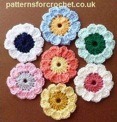 Free crochet pattern for Summer flower motif http://patternsforcrochet.co.uk/summer-flower-usa.html #patternsforcrochet #freecrochetpatterns