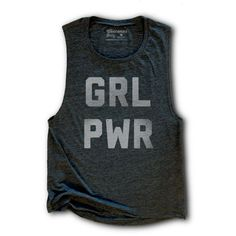 Girl Power Womens Tank Top Grl Pwr Gym Tank Top Yoga Tank Feminist... ($25) ❤ liked on Polyvore featuring black, tanks, tops and women's clothing