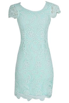 Nila Crochet Lace Capsleeve Pencil Dress in Pale Mint  www.lilyboutique.com