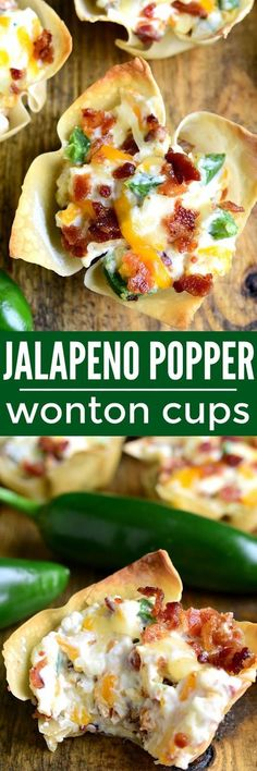 These Jalapeño Popper Wonton Cups are loaded with bacon. These Jalapeño Popper Wonton Cups are loaded with bacon jalapeños cream cheese cheddar cheese and sour cream.all in a crispy wonton shell! The perfect party or game day appetizer! Game Day Appetizers, Finger Food Appetizers, Easy Appetizer Recipes, Yummy Appetizers, Finger Foods, Appetizer Party, Wonton Recipes, Bacon Recipes, Recipes Dinner