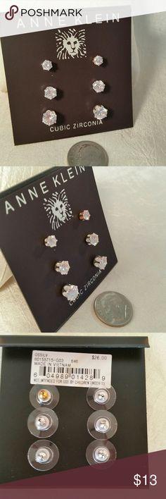 New Anne Klein CZ Cubic Zirconia earring set New Anne Klein - 3 earring sets, CZ Cubic Zirconia - post solitaire, round $26 MSRP Anne Klein Jewelry Earrings