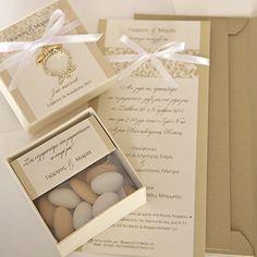 Wedding Invitations | Wishanddesire Candy Wedding Favors, Chocolate Packaging, Greek Wedding, Wedding Pinterest, Gift Table, Favor Bags, Box Design, Christening, Wedding Decorations