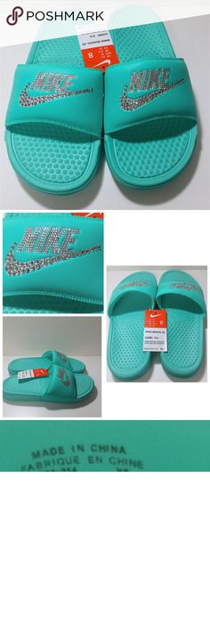 Blinged outTiffany blue womens Benassi Jdi slides Blinged out Tiffany blue colored womens Benassi Jdi slides, size 8. NWT, never been worn. All jewels intact! Jewels on NIKE and the Nike swoosh. Nike Shoes Sandals