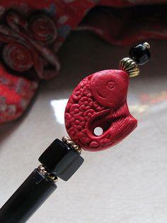 Asian Cinnabar Koi Chopstick Hair Stick or by GardenOfWeedinGirl, $14.00