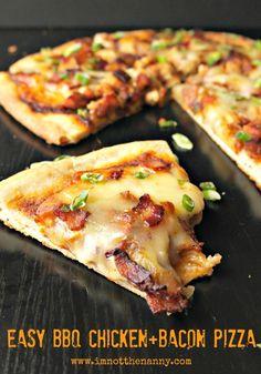 Easy BBQ Chicken & Bacon Pizza via I'm Not the Nanny #McSkilletSauce #WeekdaySupper