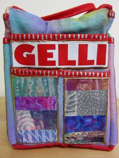"""Gelli® Printing, Planners, and Art Totes! I had a ton of fun painting this canvas tote bag with DecoArtMulti-Surface Satin acrylic paint and decorating it with strips cut from Gelli prints! It's the sturdy Voyager 15"""" Riggers Bag from Harbor Freight—and it holds a LOT of supplies!"""