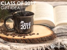 "Here's a perfect and practical gift for your special graduate of 2017. This 13 oz. Blank and White ceramic camper style mug has ""Class of 2017"" printed in white on both sides of the mug."