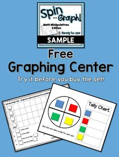 This a sample from my Spin and Graph Math Manipulatives Graphing Centers. Download and take a look and then hop over to the full version to purchase 8 more centers.