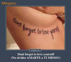 Frase en inglés con traducción al español sobre quererse a uno mismo para un tatuaje en el antebrazo