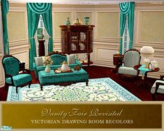 A set recolor in vibrant teal. The set includes recolors of the following Vanity Fair furnishings: sofa, loveseat, curtain, round table, sideboard, coffee table, armchair, and the 3 oval picture...