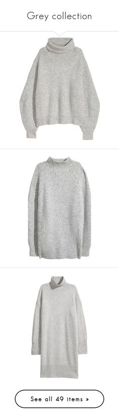 """Grey collection"" by egorova-tatiana on Polyvore featuring tops, sweaters, sweater pullover, pullover sweater, pullover top, dresses, h&m, knit dress, long sleeve knit dress and long knit dress"