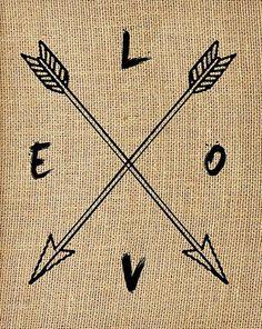 'Love' Compass Arrow Framed Burlap Print