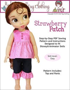 Doll Tag Clothing Strawberry Patch Doll Clothes Pattern Disney Animator Dolls | Pixie Faire