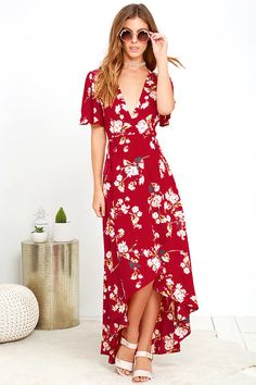 Flora Belle Wine Red Floral Print High-Low Wrap Dress