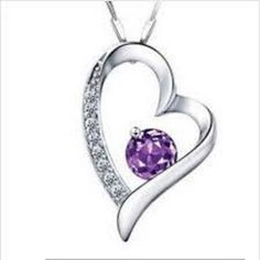 Silver Crystal Heart Purple Pendant Necklace With Link Chain . Starting at $1