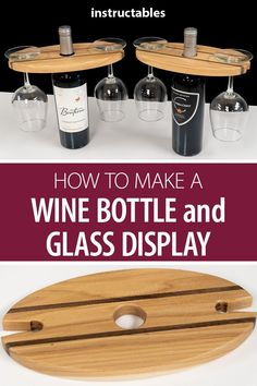 your friends with this wooden wine bottle and glass display! It's great for storing and showing off your favorite wines. Impress your friends with this wooden wine bottle and glass display! It's great for storing and showing off your favorite wines. Woodworking Workbench, Woodworking Classes, Popular Woodworking, Woodworking Furniture, Woodworking Crafts, Woodworking Workshop, Youtube Woodworking, Woodworking Store, Primitive Furniture