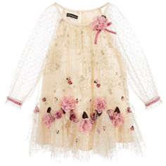 https://www.childrensalon.com/new-in/#a_aid=51f456f914eb5 This feminine dress designed by Kate Mack & Biscotti is ideal for any special occasion. Made in smooth beige satin, it is overlaid with tulle that sparkles with gold floral embroidery. Pink flower appliqués add extra loveliness and pink velvet trims give a finishing touch, with the see-through spotty tulle sleeves matching the pretty handkerchief hemline.