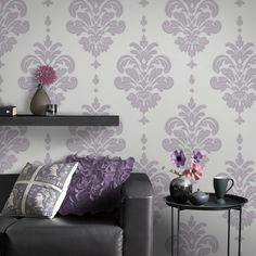 Our purple wallpaper collection comes in the latest shades and styles. Browse designer violet wall coverings by Graham & Brown perfect for any room. Discount Wallpaper, Cheap Wallpaper, Damask Wallpaper, Purple Wallpaper, Home Wallpaper, Colorful Wallpaper, Wallpaper Roll, Stripped Wallpaper, Designer Wallpaper