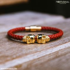 Our Exclusive Deep Red Nappa Leather/ 18kt. Gold Twin Skull Bracelet Is a Perfect Blend Of Style And Sophistication | Available Now At Northskull.com [Worldwide Shipping] #northskull #Jewelry #bracelet #gold #luxury