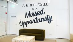 """A White Wall Is A Missed Opportunity"" Typography & Environmental Graphics Giant Wall Art, Typographie Inspiration, Typography Design, Lettering, Environmental Graphics, White Walls, Design Inspiration, House Design, Studio"