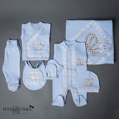 soft, thick cotton set is embellished with lace, rhinestones, and jeweled crowns. Each decorative detail is individually glued onto the onesie. Set inc Gucci Baby Clothes, Luxury Baby Clothes, Cute Baby Clothes, Little Boy Outfits, Toddler Outfits, Baby Boy Outfits, Long Sleeve Undershirts, Burp Cloth Set, Receiving Blankets