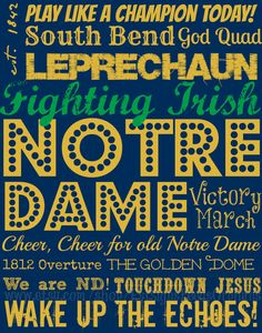 PLAY LIKE A CHAMPION TODAY--Give a gift-wrapped sign, AND feed an orphan for a month...all for $30!! Notre Dame Fighting Irish Subway Art on an by EstSignsFeedsOrphans, $30.00