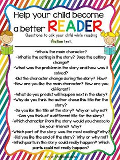 Questions to ask while reading fiction text...Free printables from Fun in First! Great to send home with parents!