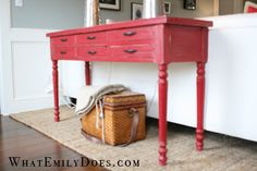 Barn Red antiqued sofa table.