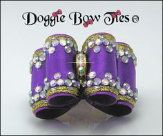 Dog Bows~Crystal Full Size Show Dog Bow in violet-purple with Swarovski AB Crystal edges.