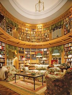 Round library by Thierry W. Despont in a Toronto house.