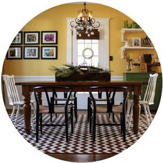 Lovely, colorful dining room - Inspired by Charm knows his stuff!  ** maybe in a different  color not yelloe