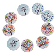 FUNIQUE 50Pcs/Lot 2-Hole Life Tree Owl Wooden Round Buttons DIY Crafts DIY Crafts Decorative Scrapbooking And Sewing Accessories