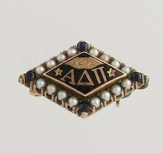 Alpha Delta Pi Vintage Fraternity Badge Pin - 10k Yellow Gold Sapphires Pearls