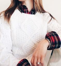 plaid + cable knit