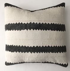 African Mudcloth Pillow Cover, Ethnic, Handwoven, Black and White, Striped