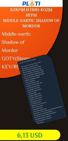 Middle-earth: Shadow of Mordor GOTY(Steam KEY/ROW free) Ключи и пин-коды Игры Middle-earth: Shadow of Mordor
