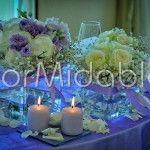 Centrotavola con lisianthus lilla e ortensie bianche - florMidable