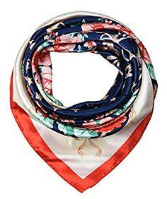 corciova Womem's 100% Silk Feeling Head Scarf for Sleeping Headband 35x35 Inches Flowers Cool Black with Beige $9.99 Free Shipping