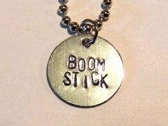 Boomstick Horror Charm Necklace  Inspired by Army of Darkness by #PrimAndGrim #handstamped #ash #evildead