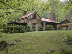 Photographic Print: Horse Grazing in the Yard of a Mountain Log Cabin by Greg Dale : Old Cabins, Log Cabin Homes, Cabins And Cottages, Cabin In The Woods, Little Cabin, Cozy Cabin, Old Houses, Barn Houses, My Dream Home
