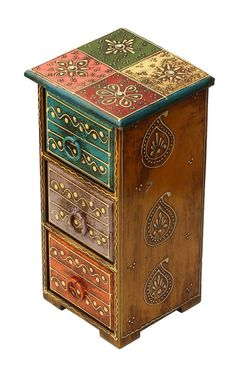 "Wholesale Handmade 11"" Wooden Jewelry Box with 3 Drawers in Blue, Violet and Orange & Old-Style Cone Painting Art in Multicolor Motifs – Antique-Look Boxes with Metal Holders for Bulk Buying"