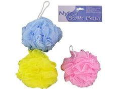 """Jumbo body scrubber - Pack of 96 by Bulk Buys. $80.35. Great Gift Idea.. Length: 15. Height: 15. Width: 15. Dimensions:. This item is a jumbo nylon scrubber perfect for bath time! Comes in assorted colors: yellow, pink and lavender. Each body scrubber is packaged in a poly bag with header card. Measurements: 5"""" hanging rope, approximately 5"""" in diameter. Dimensions:. Length: 15. Height: 15. Width: 15. Save 26% Off!"""