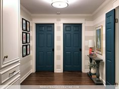 (whole article about painted interior doors) Dark Interior Doors, Interior Door Colors, Painted Interior Doors, Door Paint Colors, Gray Interior, Interior Painting, Painted Bedroom Doors, Marble Interior, Pub Interior