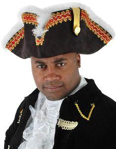 Adults Pirates Black Tricorn Hat Gold Trim Gold Pattern Fancy Costume Accessory