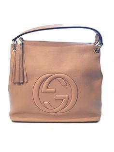 c021a894a303 Gucci Women's Camelia Beige Leather Large GG Logo Soho Handbag Satchel  408825