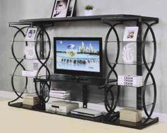 Acme Furniture Milo Black Entertainment Center with TV Stand Iron Furniture, Acme Furniture, Black Furniture, Glass Entertainment Center, Entertainment Stand, Rak Tv, Wall Mounted Tv, High Quality Furniture, Entertaining