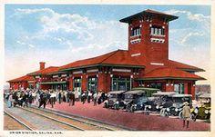 Union Station, Salina, Kansas 1910s Salina Kansas, Salina Ks, Hays Kansas, Train Stations, Union Station, Cityscapes, Santa Fe, New Mexico, American History