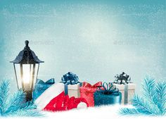 Christmas Background with a Lantern and Presents