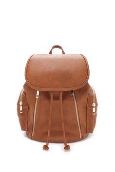 FOREVER 21 || Zippered faux leather backpack | Mochila de piel de imitación con cremalleras