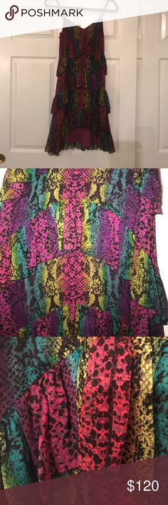 Betsy Johnson Dress Vibrant snake skin pattern, 100% silk dress (aside from the polyester lining). Spaghetti strap, hidden side zipper, beautifully layered. Unique textile and very funky. Worn one time. Betsey Johnson Dresses Mini
